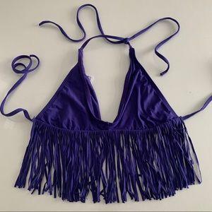 LSpace bluish purple fringe triangle bikini top, M
